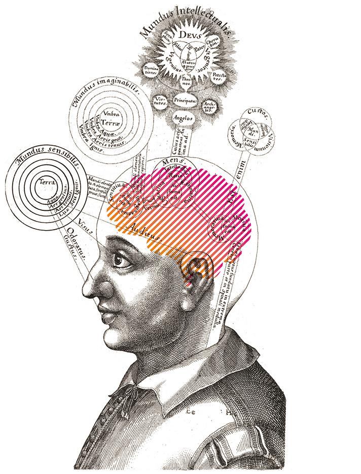 Illustration von Person mit Gedanken